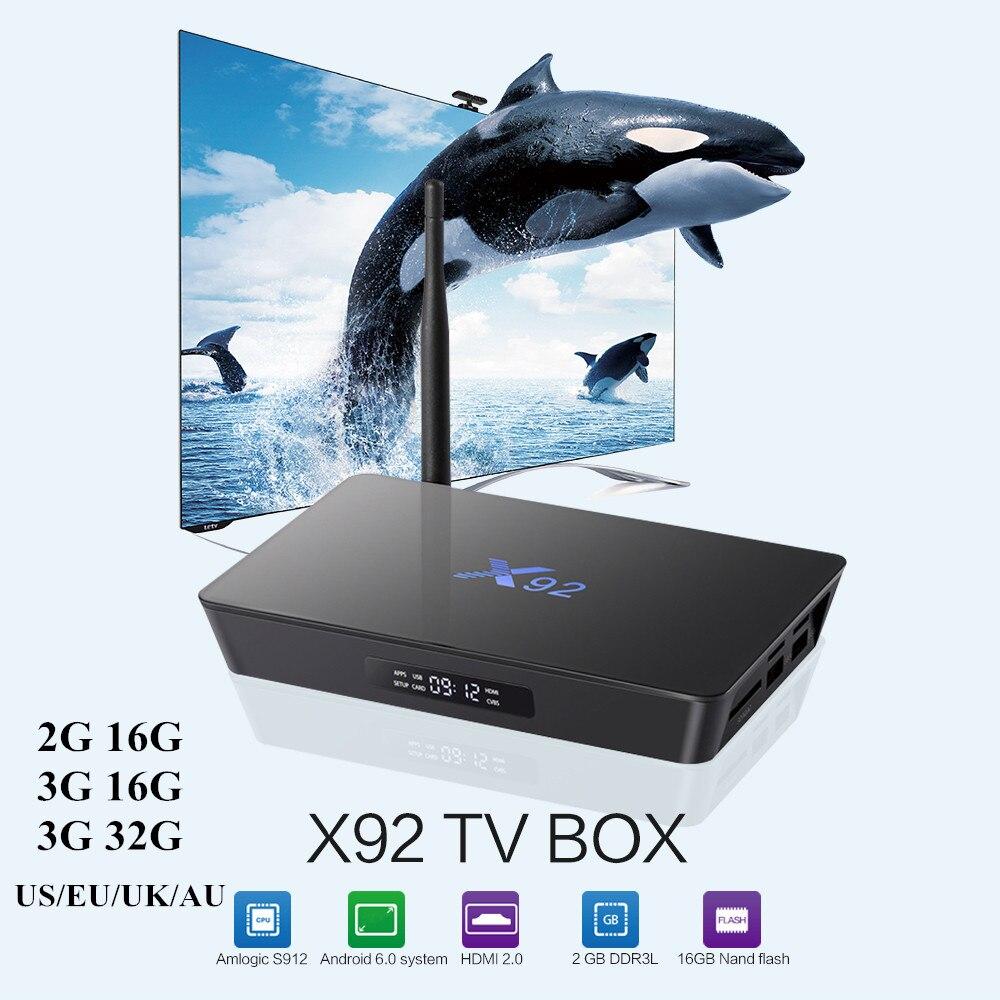 Prix pour Zeepin X92 2G/16G 3G/16G Intelligent Android 6.0 TV Box Amlogic S912 octa-core 2.4 GHz/5.8 GHz WiFi Bluetooth 4.0 4 K Médias lecteur