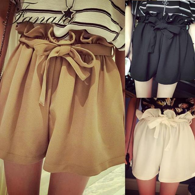 FANALA Fashion Korean White Shorts High Elastic Women Style Belt Waist Loose
