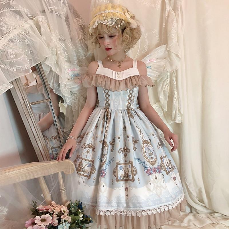 Croatie douce Lolita JSK robe en mousseline de soie Loli rose doux Lolita robe Lolita Cosplay Costume