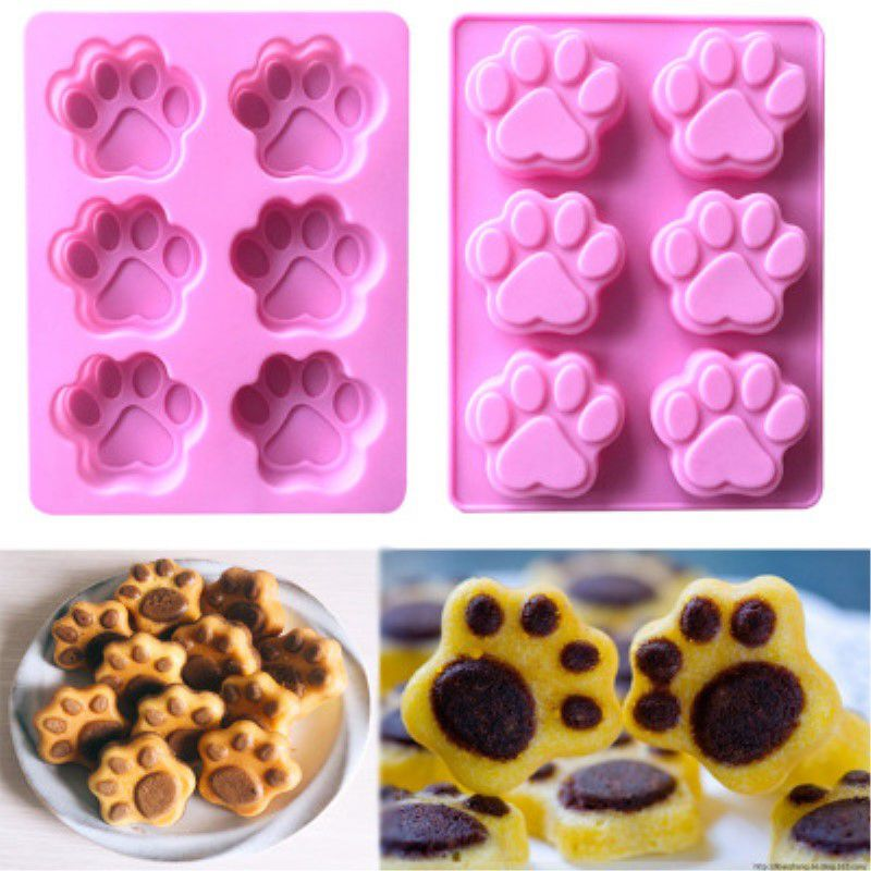 Mini 6 Cavity Silicone Puppy Footprint <font><b>Cat</b></font> Claw <font><b>Cake</b></font> Soap Mold Pudding Chocolate Bakeware Muffin <font><b>Cup</b></font> Savarin Mould DIY Tools image