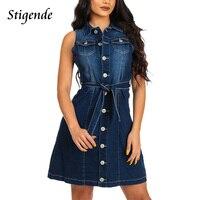 Stigende Sleeveless Denim Dresses Women 2018 Summer Casual a Line Dress Jeans Female Pocket Front Button Sexy Short Mini Dress