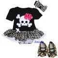 Bebé negro Leopard Skull rojo del pirata del mono Tutu zapatos del pesebre Dress Party 0 - 18 M