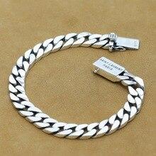 Luxury 925 Sterling Silver Bracelets Man High Polish Curb Link Chain Bracelet for Men Vintage Punk Rock Biker Mens Jewelry S108 недорого