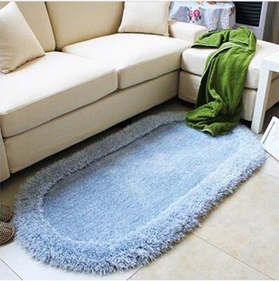 80*160cm Bedroom Oval Carpet Bright Silk 3D Cozy Shag Collection Solid Shag  Rug Contemporary Soft Shaggy Area Rug