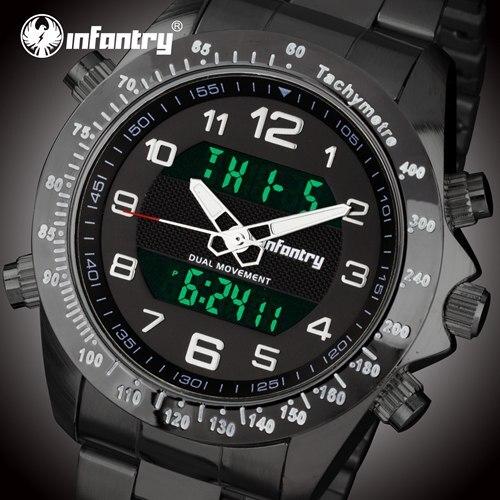 Мужские часы от ведущего бренда, роскошные аналоговые цифровые военные часы, мужские тактические армейские часы для мужчин, часы Relogio Masculino - Цвет: Black