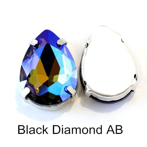 5 размеров красочные стеклянные хрустальные серебряные коготь пришивные стразы с коготь капли воды красные Пришивные коготь стразы для одежды B0403 - Цвет: Black Diamond AB