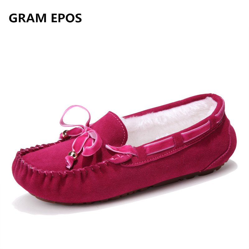 GRAM EPOS Women Genuine Leathe Winter Shoes Big size 41 Slip on 7 Cute Candy Colors Butterfly Knot Female Casual loafer Botas