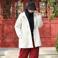 Coton Lin À Capuchon Femmes D'hiver Manteau Chinois style Vintage Épais Chaud Hiver Veste Femmes Outwear conception Originale Femme C145