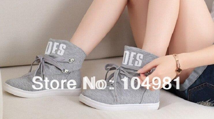 Free shipping 2018 Mujer wedge nude sneakers fashion nude wedge Botas flat 01f011