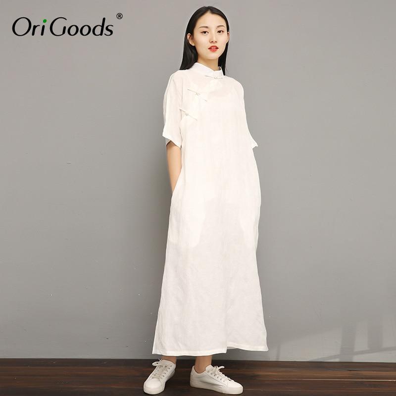 OriGoods Chinese style Long Dress Women Linen Tencel Summer Dress Vintage Original design Qipao Dress Vestidos Robe Femme F064