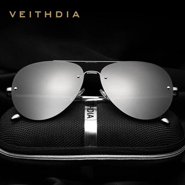 VEITHDIA Marca de Moda Unissex Óculos de Sol Revestimento Polarizada Espelho Óculos de Sol Óculos Sem Aro Masculino Óculos Para Homens/Mulheres 3811