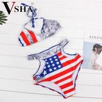 Vsha הדפסת דגל נשים ביקיני סקסי חליפת השחייה מותניים גבוהים תלבש 2017 קיץ נשים חוף שמש אמבטיה שתי חליפת חתיכה