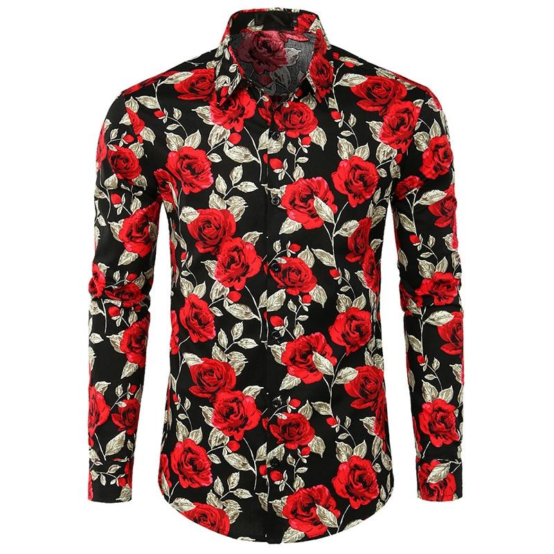 Men Retro Flower Shirts New Fashion Design Casual Shirt Roses Flowers 3d Print Social Shirts For Male