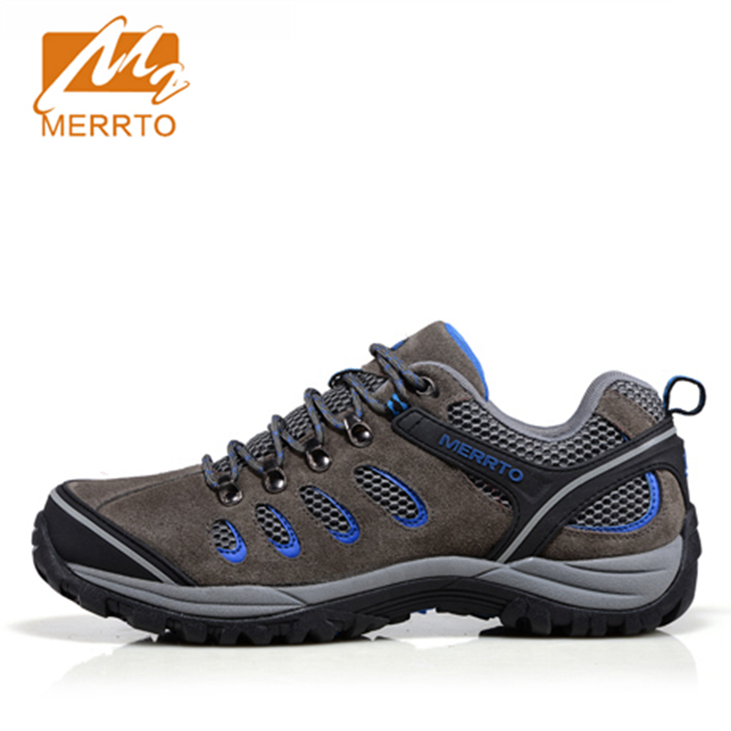 2018 Merrto Lovers Walking Shoes Breathable Outdoor Shoes Travel Shoes Suede leather For Lovers Free Shipping MT18358/MT18357 2018 merrto womens outdoor walking sports shoes breathable non slip travel shoes for women purple rose red free shipping mt18665