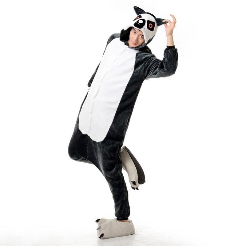 Adorable Lemur Soft Flannel Onesie Animal Adult Women Women Warm Kigurumi Pajama Overall Halloween Party Jumpsuit  Sleep Costume (4)