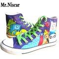 LEO Anime Pintados À Mão Sapatos de Lona Das Meninas Dos Meninos Dos Desenhos Animados Adventure Time Graffiti Moda Sapato Plana de Alta-Top de Renda-até Sapatos Casuais