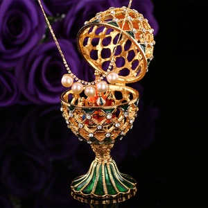 Image 3 - QIFU Luxury Russia Style Faberge Egg with Small Castle Craft Ornaments Decoration