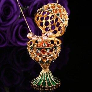 Image 3 - QIFU oeuf de Style russe de luxe, avec ornements artisanaux de petit château, décoration