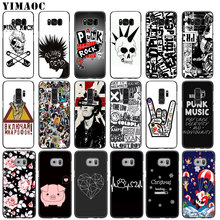 YIMAOC Punk Rock Soft Silicone Phone Case for Samsung Galaxy S9 S8 Plus S6 S7 Edge A3 A5 2016 2017 TPU Black flower Cover