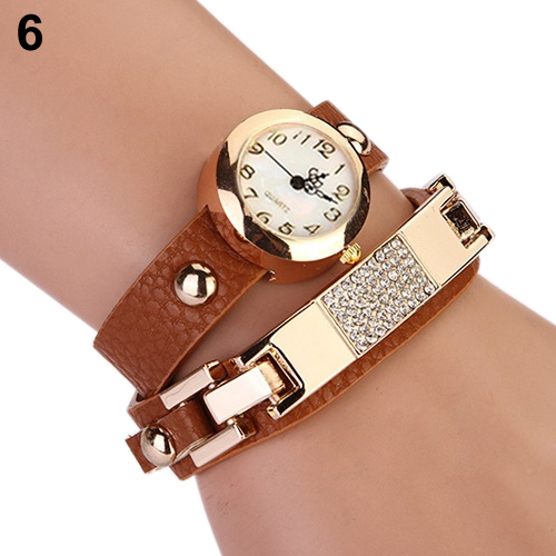 Popular Women's Alloy Bracelet Watch Wrap Square Rhinestone Faux Leather Analog