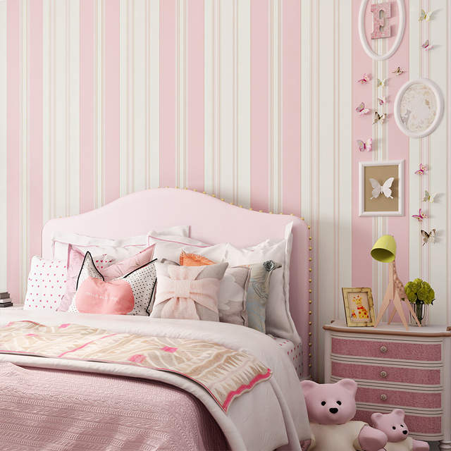 Children Room Wallpaper Kids Bedroom Romantic Pink Princess Room  Environmental Protection Non-woven Blue Stripe Wall Paper Rolls