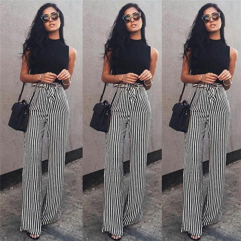 b17e7e9bf05089 Striped Palazzo Wide Leg Pants Women Drawstring Long Loose High Waist  Trousers Ladies Plus Size Flat Pants