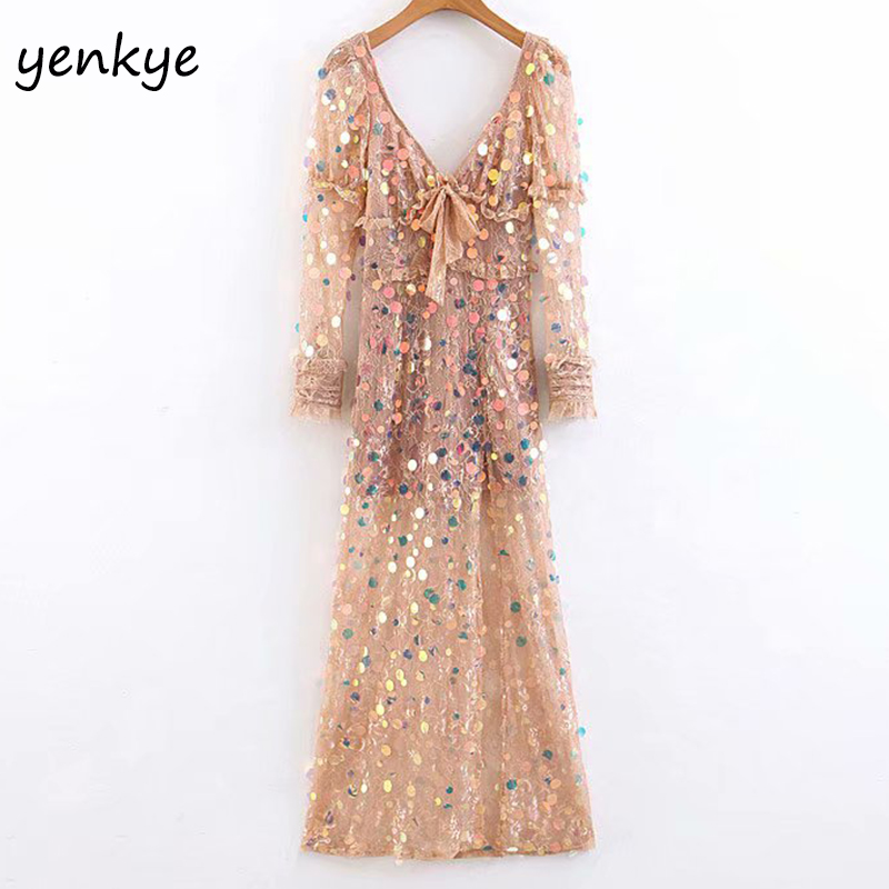 Fashion 2019 Women Semi-sheer Pink Lace Sequin Dress Female V Neck long Sleeve Side Slits A-line Long Party Sexy Dress LJPZ8883