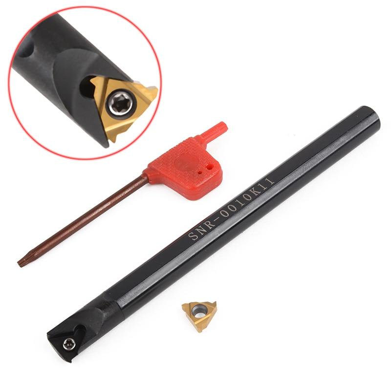 1 ensemble outil de tournage de filetage de tour interne SNR0010K11 support d'alésage + clé + insertion en carbure pour barre d'alésage de tour