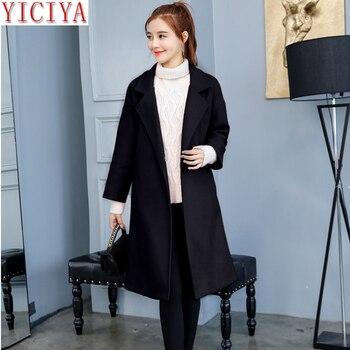 YICIYA black jacket women coat wool woolen autumn winter plus size large big 4xl slim long blazer suits elegant warm clothes