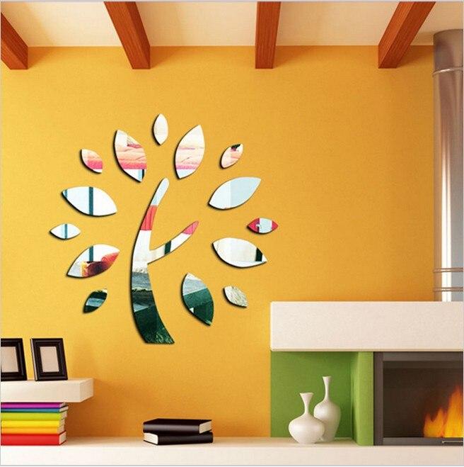 unidslote wishing tree nueva llegada espejo etiqueta de la pared decoracin del techo calcomana mm de espesor espejo plstico decoracin del hogar