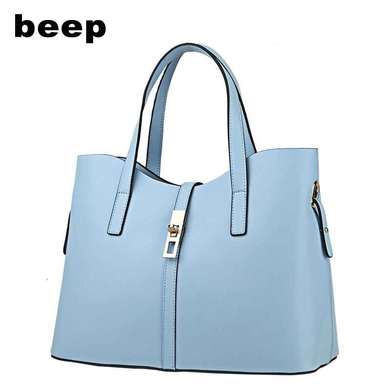 Beep Brand 2017 New Superior cowhide fashion Leisure Genuine Leather bag  women leather bag  women Composite bag beep beep go to sleep