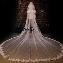 In Stock Super Wide Bridal Veils 2017 Two Layers 3.5 m White/Ivory Bridal Accessory Veil For Brides Lace Wedding Veil with Comb