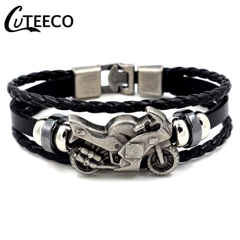 CUTEECO Fashion Vintage Leather Bracelet Men Motorcycle Multilayer Braided Warp Bracelet Punk Jewelry Pulseira Masculina