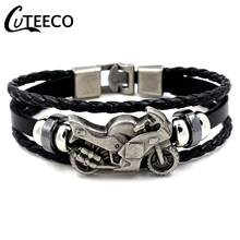 CUTEECO Fashion Vintage Mens Leather Bracelet Motorcycle Charm Multilayer Braided Pulseira Masculina Punk Jewelry Gifts