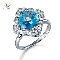 Peacock Star Art Deco 14K White Gold Wedding Anniversary Ring 3 Ct Swiss Blue Topaz Diamond
