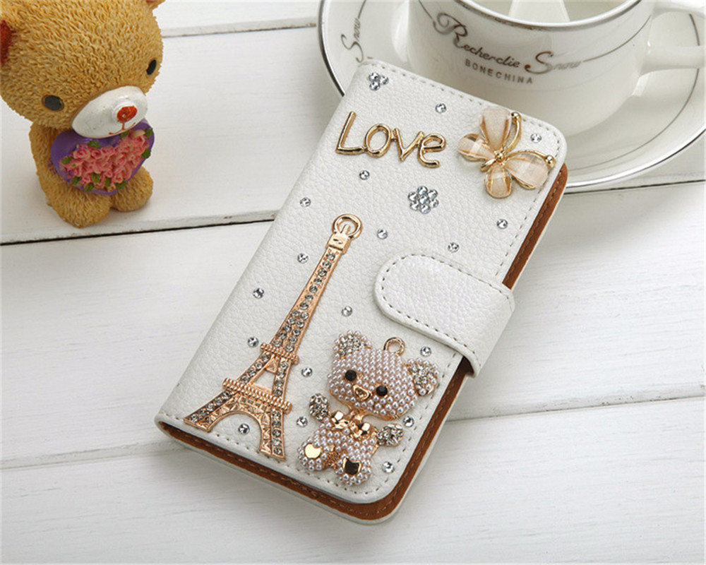 Bling Handmade Rhinestone Leather Flip Wallet Protective Case for iPhone 11 Pro Max 7 8plus 6 6s plus for Samsung Note10 S9 plus