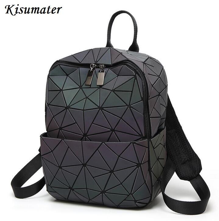 2017 women backpack Geometric Shoulder Student s School Bag Hologram Luminous backpack Laser silver baobao backpack