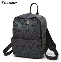 2019 women backpack Geometric Shoulder Student's School Bag Hologram Luminous backpack Laser silver backpack logo bag