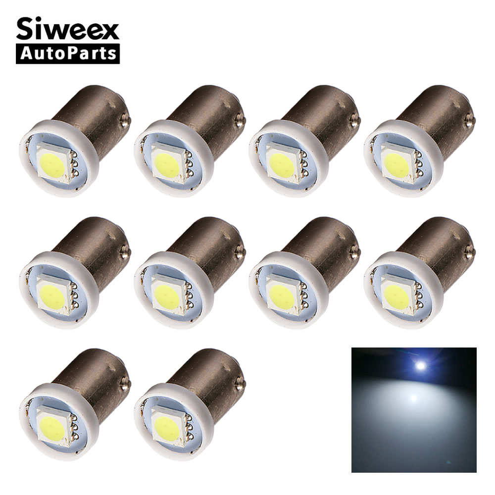 10X T4W BA9S Car LED Bulbs 1 SMD 5050 Dome License Plate Lights Door Festoon Reading Side Marker Lamp White 12V DC