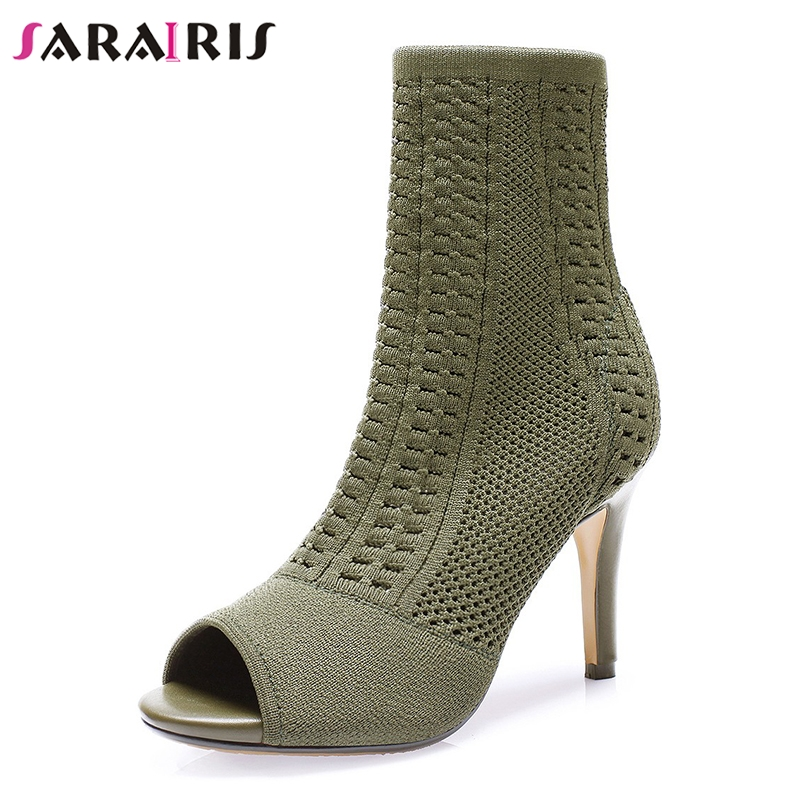 SARAIRIS Brand New Fashion Peep Toe Thin High Heels 8.5cm Shoes Woman Casual Party Office Sexy Spring Autumn Ankle Boots-in Ankle Boots from Shoes    1