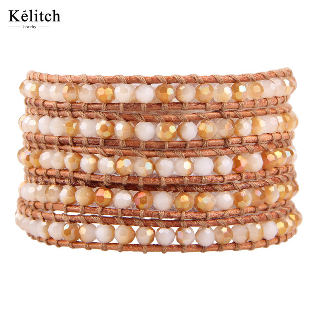 Kelitch 1Pcs Luxury Natural Agate Stone Genuine Leather Chain Beaded Bracelets For Women Colorful Exquisite Handmade Jewelry