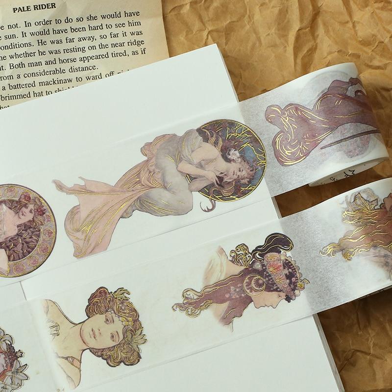 22 Styles Gold Foil Printing Europe Baroque Painting Girls Japanese Decorative Adhesive Masking Paper Washi Tape DIY StickerGift