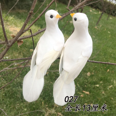 US $13 7 18% OFF|Animal White pigeon small white dove feather bird garden  decoration wedding gifts optional decoration dies-in Figurines & Miniatures