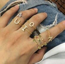 2021 Alphebet Charme Niedlichen Mikro Pflastern Cz Buchstaben Top Qualität Link Kette Meanning Neueste Design Zwei Farben Minimale Kette Ring