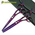 """Univinlions 6 """"titan púrpura japón tijeras de pelo de peluquería de corte de pelo profesional tijeras de peluquero adelgazamiento tijeras dentadas"""