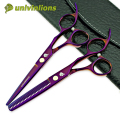 "univinlions 6"" titan purple japan hair scissors hairdressing salon professional hair cut shears barber thinning scissors pinking"