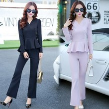 Office Ladies Two Piece Set Top and Pants Women Work Wear 2 Piece Set Pants Suits Women Two Piece Outfits Spring Autumn Clothing