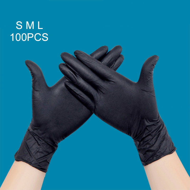 100Pcs Disposable Black Nitrile Gloves Medical Tattoo Mechanic Industrialization Latex Gloves For Styling Accessories 88 SK88 disposable gloves latex s natural pk100