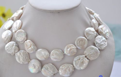 classic huge 14-15mm south sea baroque white pearl necklace 24inch