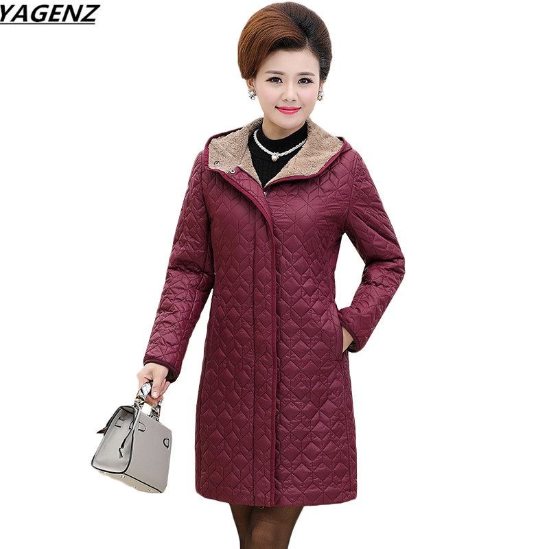 Women Parkas Thick Jacket Winter Coat Long Middle-aged Hooded Cotton Outwear Plus Size 4XL Elderly Mom Padded Velvet Coats K633 women s winter coat new parkas female thick padded cotton long outwear plus size parka casual jacket coat women c1251